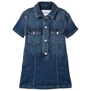 Image of Calvin Klein Jeans Mid Wash Denim Shirt Dress 8 years