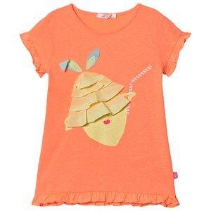 Image of Billieblush Ruffle Detail Peach Lemon Print Dress Pink 5 years