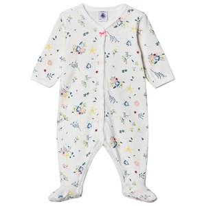 Image of Petit Bateau Floral Footed Baby Body Marshmallow White 24 months