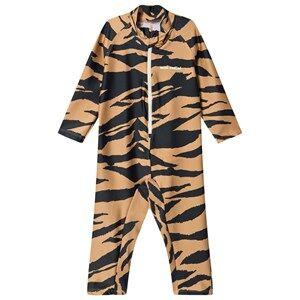 Mini Rodini Tiger One-Piece Rashguard Swimsuit Brown 104/110 cm