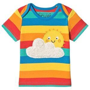 Image of Frugi Rainbow Organic Short Sleeve Cloud and Sun Appliqu T Shirt 18-24 months