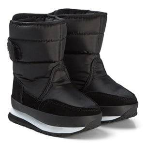 Rubber Duck Nylon Suede Solid Kids Boots Black Snow boots