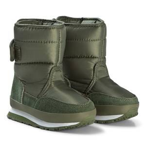 Rubber Duck Nylon Suede Solid Kids Green Snow boots