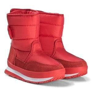 Rubber Duck Nylon Suede Solid Kids Boots Red Snow boots