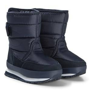Rubber Duck Nylon Suede Solid Kids Navy Snow boots