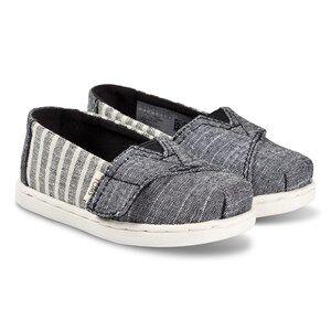Toms Grey and White Striped Alpargata Slip On Strap Trainers Lasten kengt 22 (UK 5)