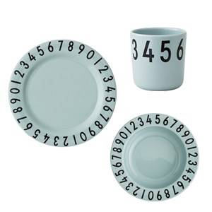Design Letters Melamine The Numbers Tableware Gift Set 3 Pieces Green Table sets