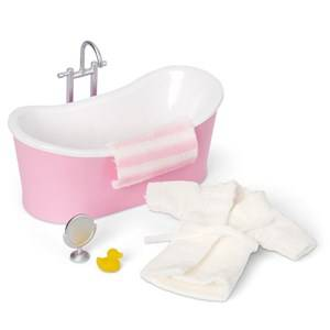 Lundby Accessories Bath Doll House Furniture Set White/Pink