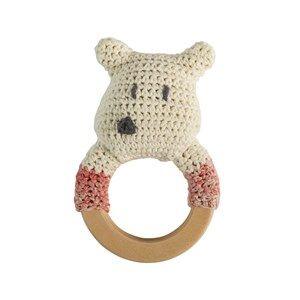sebra Crochet Rattle Polar Bear on Wooden Ring