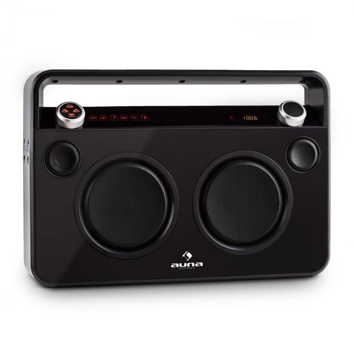 Auna Bebop Ghettoblaster USB Bluetooth AUX MIC akku musta
