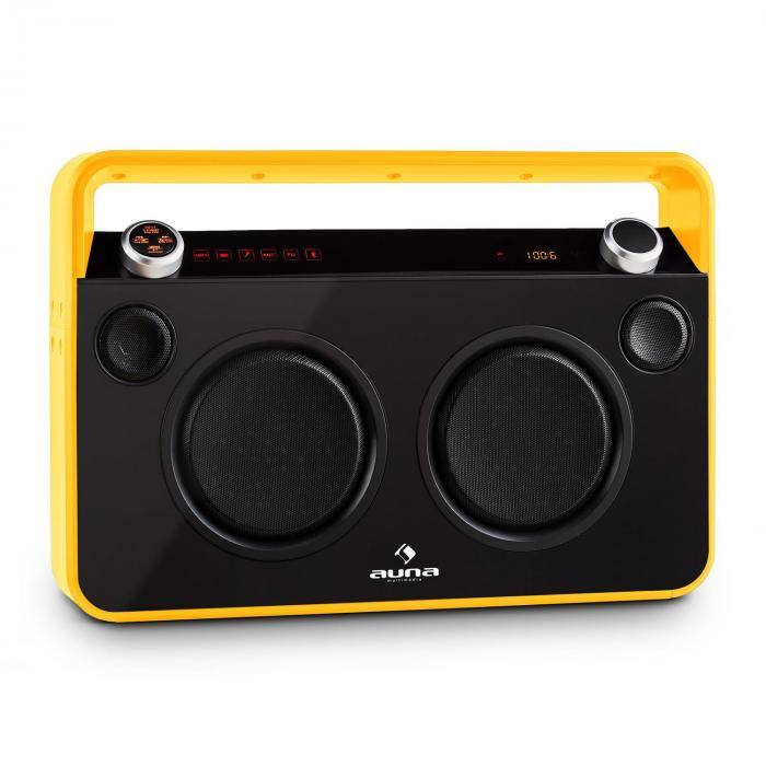 Auna Bebop ghettoblaster USB bluetooth AUX MIC akku keltainen