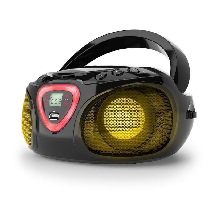 Auna Roadie boombox CD USB MP3 MW/FM-radio bluetooth 2.1 LED-värileikki musta