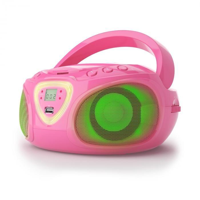 Auna Roadie boombox CD USB MP3 MW/FM-radio bluetooth 2.1 LED-värileikki vaaleanpunainen