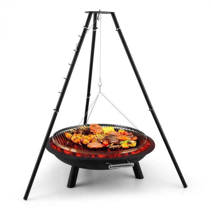 Blumfeldt Arco Trino kolmijalkainen grilliritilä ulkopata BBQ ruostumatonta terästä
