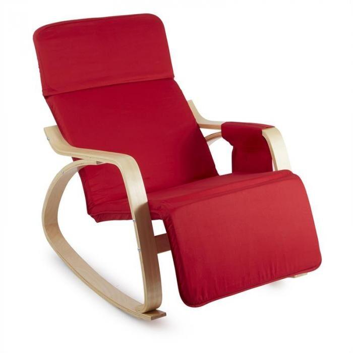 OneConcept Beutlin nojatuoli kevyesti keinuva 68 x 90 x 97 cm (leveys x korkeus x syvyys) koivuvaneri punainen