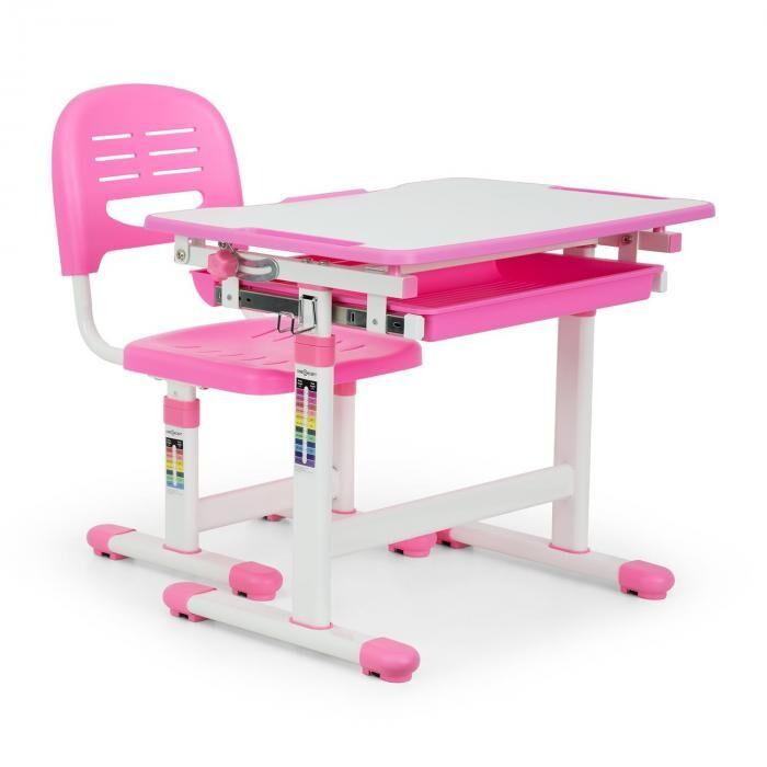 Oneconcept Annika lasten 2-osainen kirjoituspöytäsetti pöydällä ja tuolilla pinkki