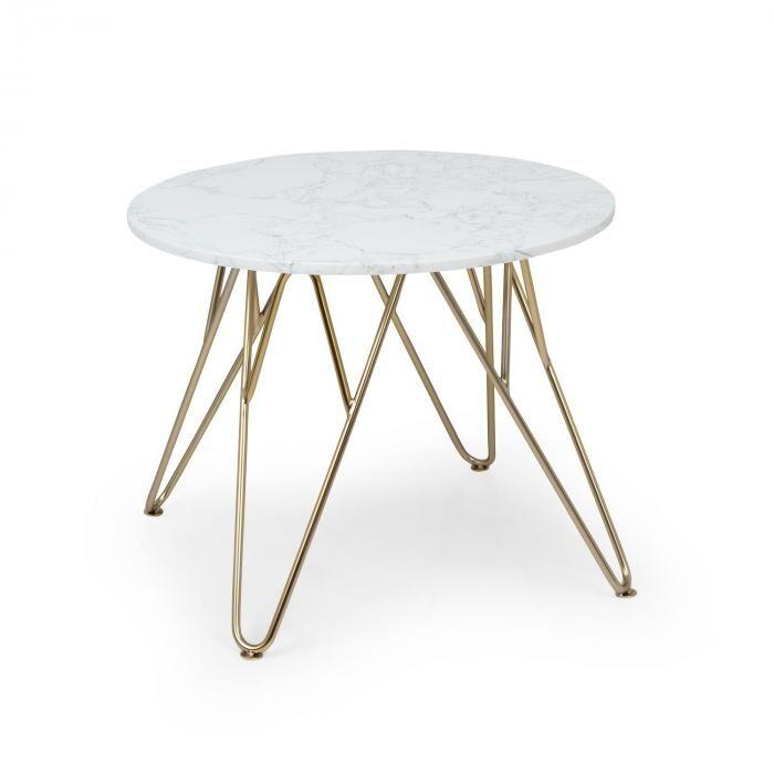 Besoa Round Pearl sohvapöytä 55 x 45 cm (halkaisija x korkeus) marmori kulta/valkoinen