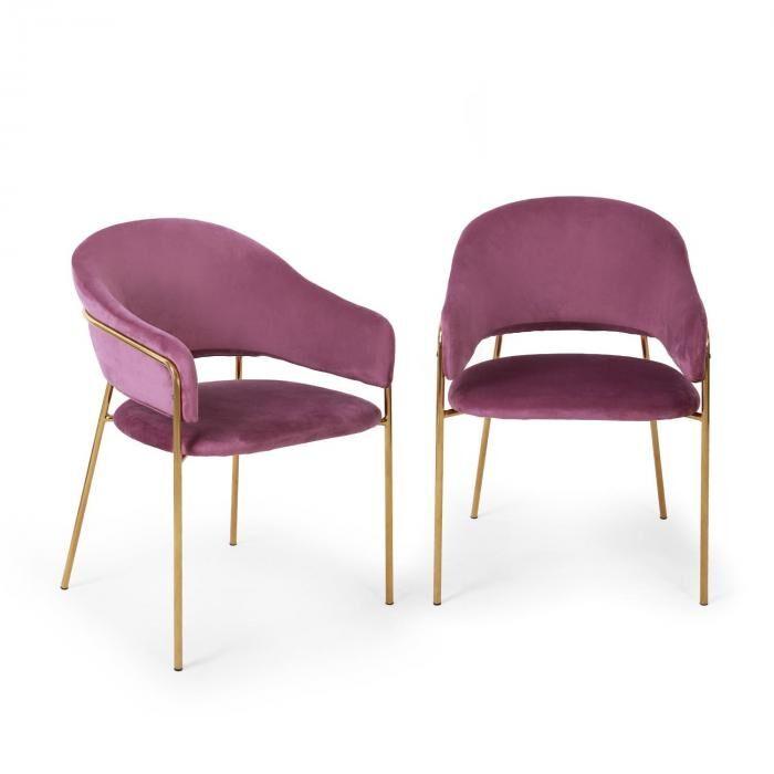 Besoa Salma ruokapöydän tuolit metallirunko kullanvärinen kromattu liila