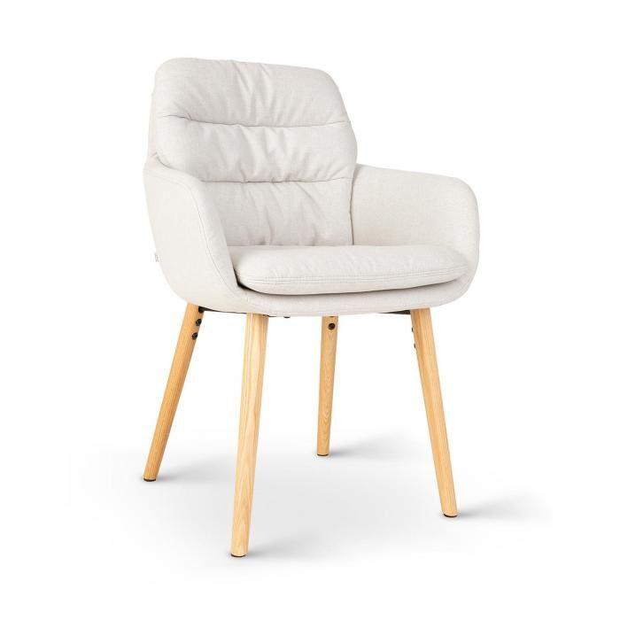 Besoa Doug -tuoli vaahtomuovipehmuste 100 % polyesteriä puujalat kerma