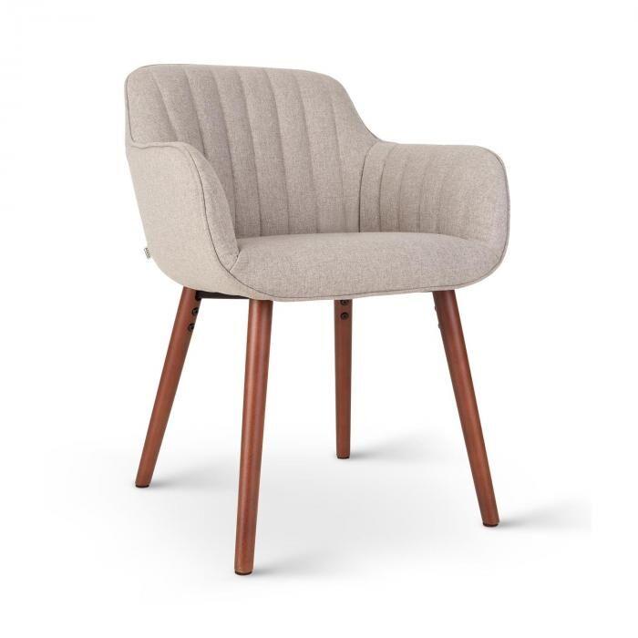 Besoa Iris -tuoli vaahtomuovipehmuste polyesteripäällinen puujalat meleerattu harmaa