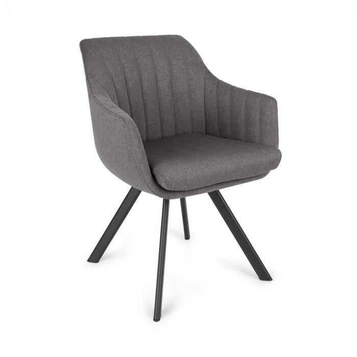 Besoa Roger -tuoli vaahtomuovipehmuste polyesteri teräsjalat tummanharmaa