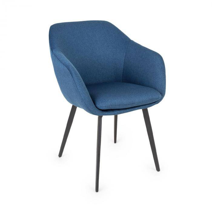 Besoa James -tuoli vaahtomuovipehmuste polyesteri teräsjalat tummansininen