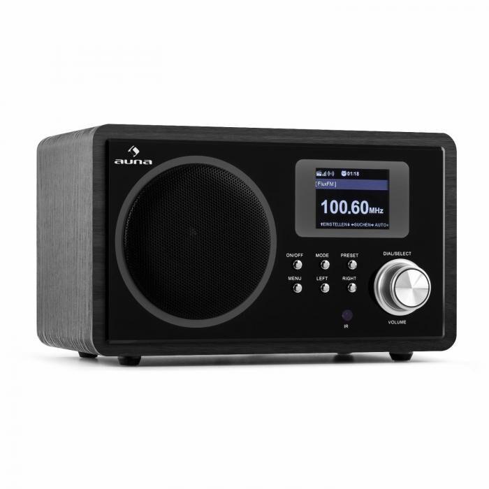 Auna IR-150 internetradio FM, DLNA WLAN retro kaukosäädin puupinnoite musta