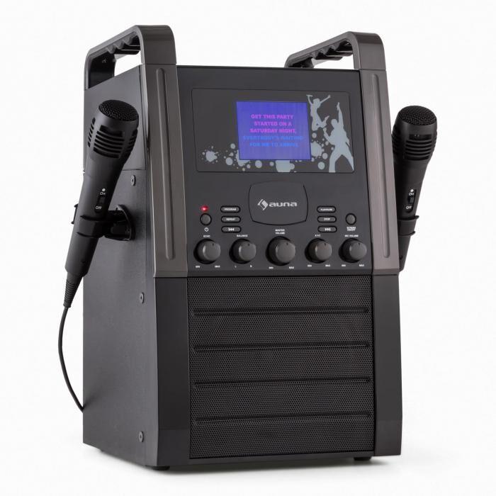 Auna KA8B-V2 BK karaokelaite CD-soitin AUX 2 x mikrofoni musta