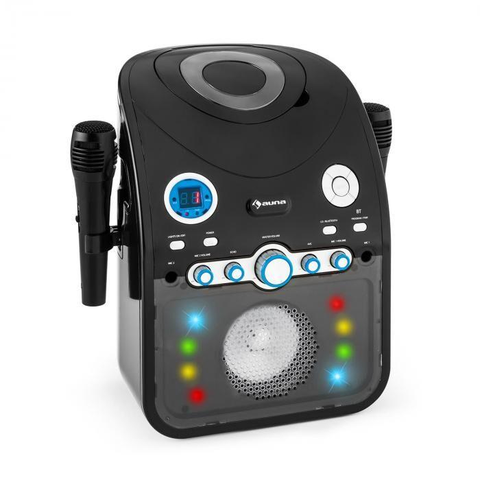 Auna StarMaker BK karaokelaitteisto CD bluetooth AUX LED-valotehoste 2 x mikrofoni