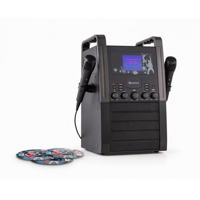 Auna KA8P-V2 BK karaokelaite CD-soitin AUX 2 x mikrofoni sis. 3 x karaoke-CD+G