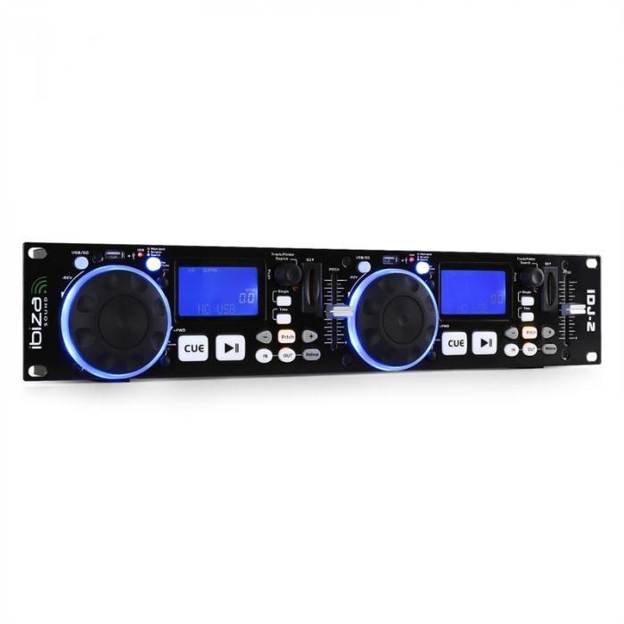 Ibiza IDJ2 double-DJ-kontrolleri USB SD