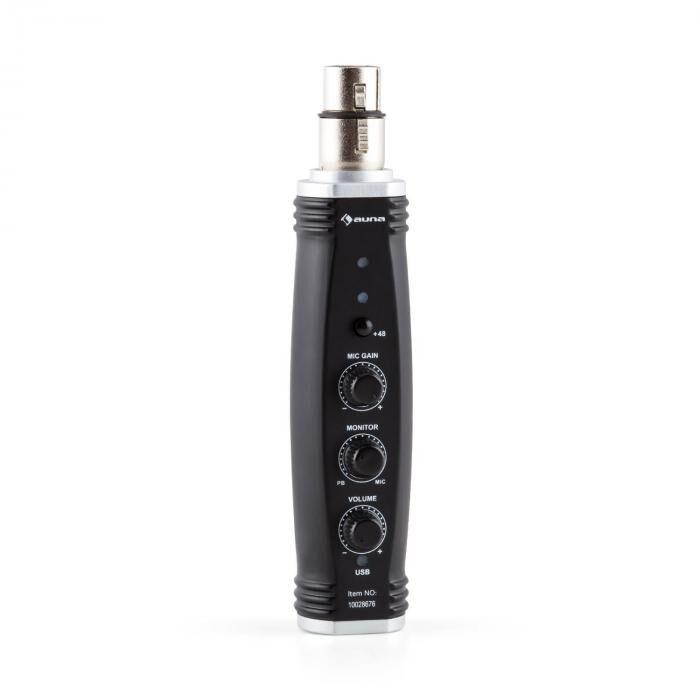 Auna AI-01 XLR-USB-converter mikrofoni 16bit 48V phantom Plug & Play