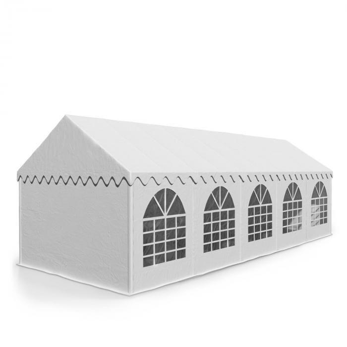 Blumfeldt Sommerfest 5x10m500 g/m² juhlateltta PVC vaikeasti syttyvä valkoinen