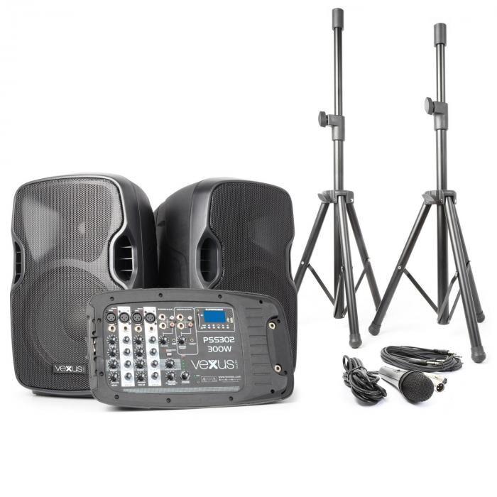 Vexus PSS302 liikuteltava PA-audiojärjestelmä 300 W max. bluetooth USB SD MP3 2 x jalusta 1 x mikrofoni