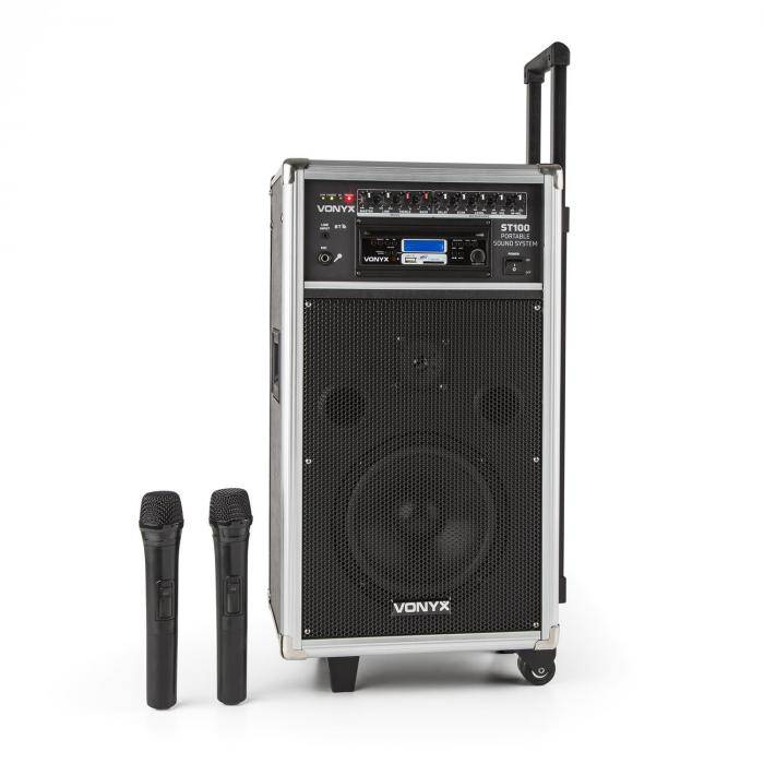 Vonyx ST-100 MK2 kannettava PA-audiojärjestelmä bluetooth CD USB SD MP3 akku UHF