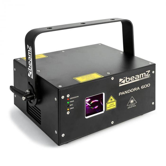 Beamz Pandora 600 show-laservalo TTL RGB MIC DMX ILDA ääniaktiivinen master/slave 400mW