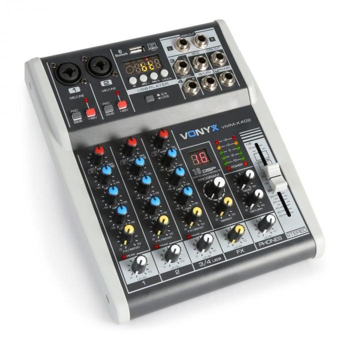 Vonyx VMM-K402 4-kanava musiikki mikseri Bluetooth USB-Audio-Interface