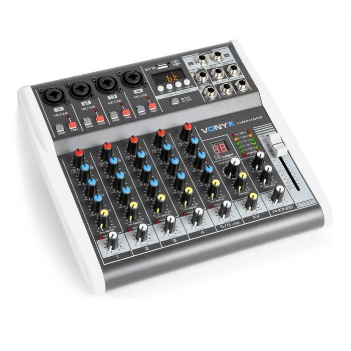 Vonyx VMM-K602 6-kanava musiikkimikseri Bluetooth USB-Audio-Interface