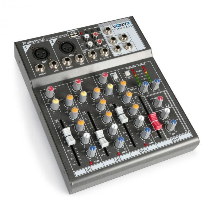 Vonyx VMM-F401 4-kanava musiikkimikseri USB-soitin AUX-IN +48V Phantom