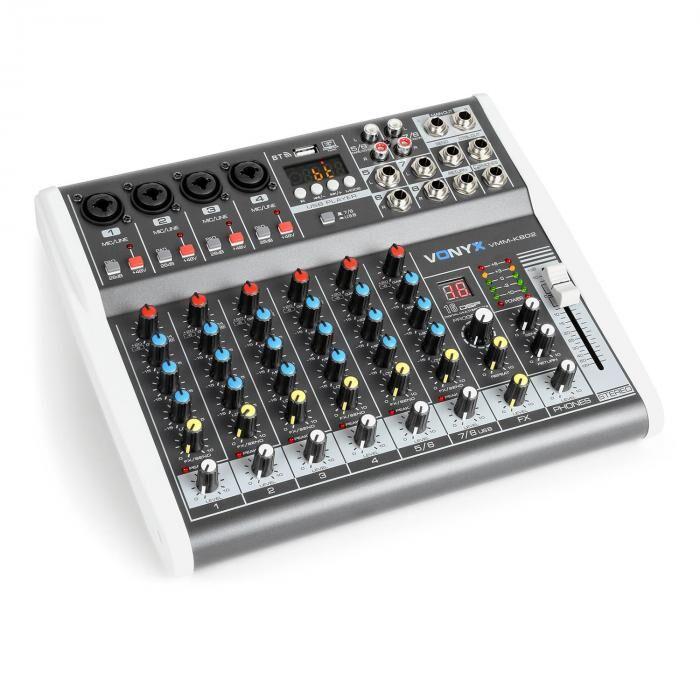 Vonyx VMM-K802 8-kanava mikseri, USB-portti, BT-vastaanotto, 16-DSP, +48V phantom