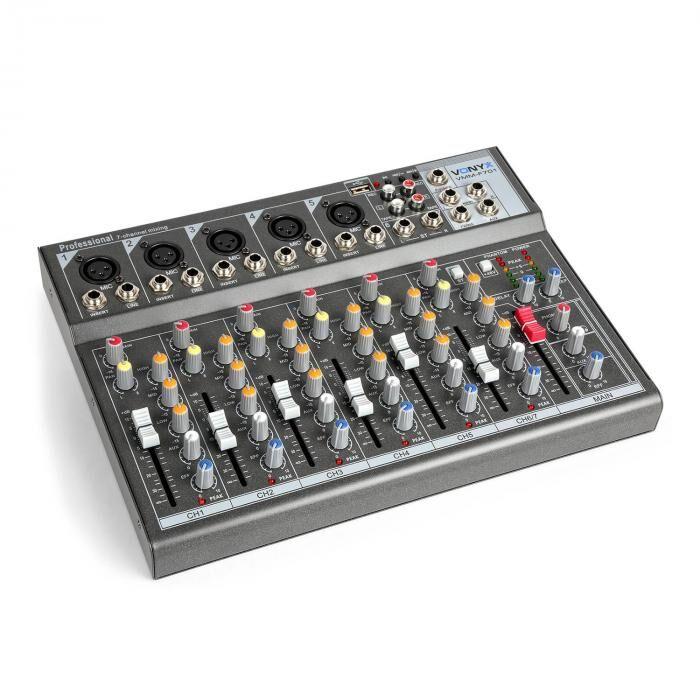 Vonyx VMM-F701 miksauspöytä 5 x mono mikrofoni-/linjasisääntulo stereo linjasisään-/ulostulo