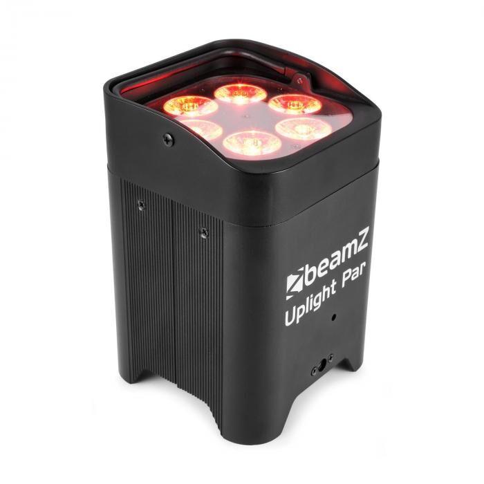 Beamz BBP96 Uplight PAR 6x12W 6in1 LED RGBAW-UV 72W 12,6V/10,4Ah akku musta