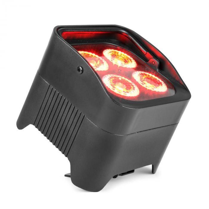 Beamz BBP94 Uplight PAR 4x10W 6in1 LEDs RGBAW-UV 48W 12,6V/7,8Ah akku musta