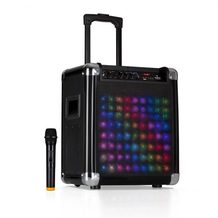 "Auna Moving 80.2 LED PA-laitteisto 8"" subwoofer 100 W max. VHF-mikrofoni USB SD bluetooth AUX kannettava"
