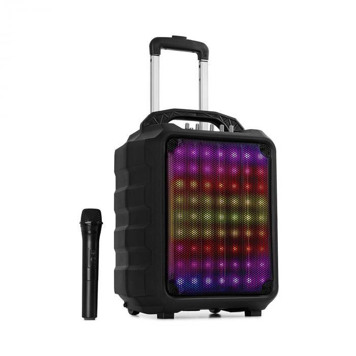 "Auna Moving 80.1 LED PA-laitteisto 8"" subwoofer 100 W max. UHF-mikforoni USB SD bluetooth AUX kannettava"