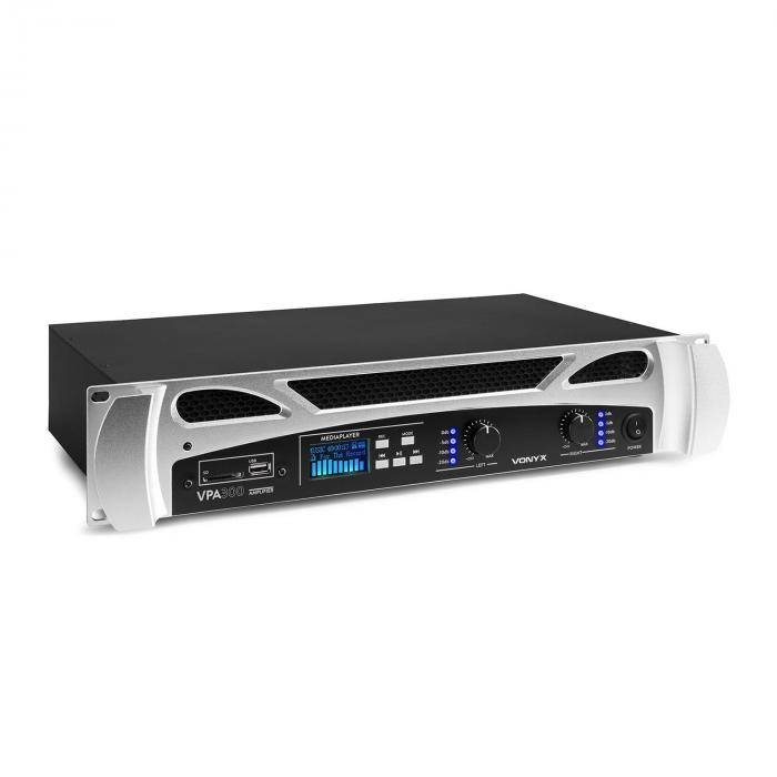 Vonyx VPA300 PA-vahvistin 2 x 150 W bluetooth mediasoitin LED USB SD