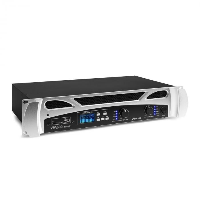 Vonyx VPA600 PA-vahvistin 2 x 300 wattia bluetooth mediasoitin LED USB SD