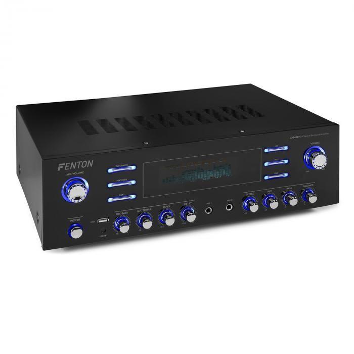 Fenton AV340BT surround-hifivahvistin 510 W RMS (2 x 180 W @ 8 ohmia) bluetooth/USB/AUX