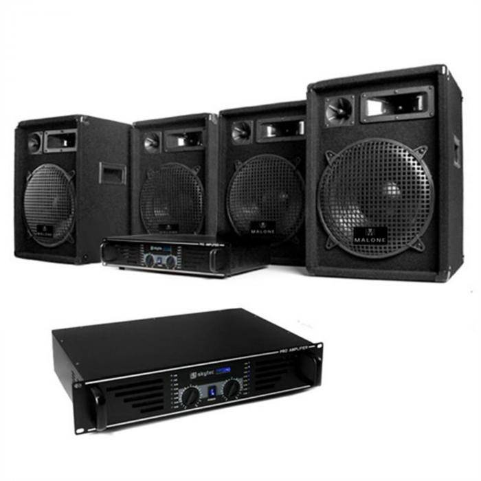 "Electronic-Star DJ- PA-setti ""Nizza Nights Pro"" 2 x vahvistin 4 x kaiutin"