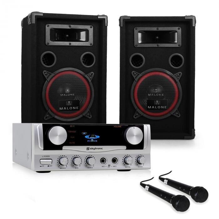 "Electronic-Star PA-laite ""EASY""DJ-setti vahvistin kaiuttimet mikrofoni 1000W"